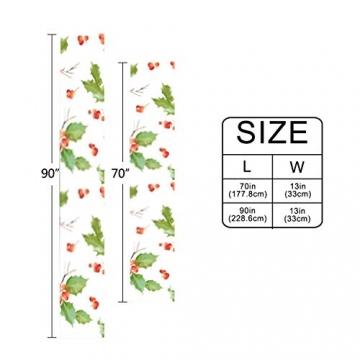 WENP Tischläufer für die Küche zu Hause Esstischdekor Tischläufer Vintage Holly Berry Hintergrund Nahtlose Weihnachtstischwäsche für Party- / Alltagsgebrauch (13x70in) - 6