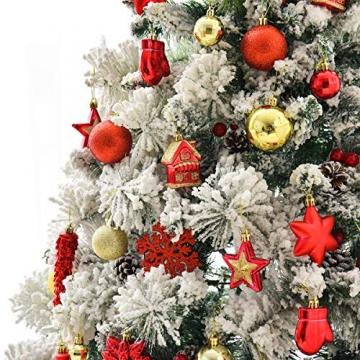 WEYON 113 Stück Christbaumkugeln Set Weihnachtskugeln aus Kunststoff Golden & Rot Baumschmuck Weihnachtsbaum Deko & Christbaumschmuck in unterschiedlichen Größen und Designs - 8