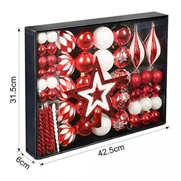 YILEEY Weihnachtskugeln Weihnachtsdeko Set Rot und Weiß 88 STK in 15 Farben, Kunststoff Weihnachtsbaumkugeln Box mit Aufhänger Christbaumkugeln Plastik Bruchsicher, Weihnachtsbaumschmuck, MEHRWEG - 3