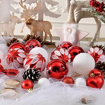 YILEEY Weihnachtskugeln Weihnachtsdeko Set Rot und Weiß 88 STK in 15 Farben, Kunststoff Weihnachtsbaumkugeln Box mit Aufhänger Christbaumkugeln Plastik Bruchsicher, Weihnachtsbaumschmuck, MEHRWEG - 4