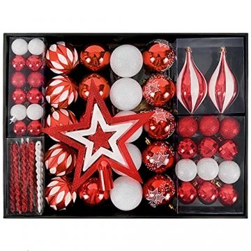 YILEEY Weihnachtskugeln Weihnachtsdeko Set Rot und Weiß 88 STK in 15 Farben, Kunststoff Weihnachtsbaumkugeln Box mit Aufhänger Christbaumkugeln Plastik Bruchsicher, Weihnachtsbaumschmuck, MEHRWEG - 1