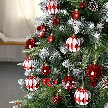 YILEEY Weihnachtskugeln Weihnachtsdeko Set Rot und Weiß 88 STK in 15 Farben, Kunststoff Weihnachtsbaumkugeln Box mit Aufhänger Christbaumkugeln Plastik Bruchsicher, Weihnachtsbaumschmuck, MEHRWEG - 5