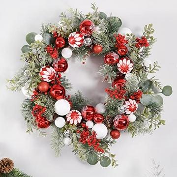 YILEEY Weihnachtskugeln Weihnachtsdeko Set Rot und Weiß 88 STK in 15 Farben, Kunststoff Weihnachtsbaumkugeln Box mit Aufhänger Christbaumkugeln Plastik Bruchsicher, Weihnachtsbaumschmuck, MEHRWEG - 6