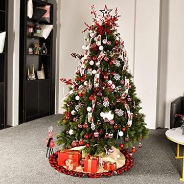 YILEEY Weihnachtskugeln Weihnachtsdeko Set Rot und Weiß 88 STK in 15 Farben, Kunststoff Weihnachtsbaumkugeln Box mit Aufhänger Christbaumkugeln Plastik Bruchsicher, Weihnachtsbaumschmuck, MEHRWEG - 7