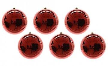 zeitzone Große Christbaumkugeln Rot Glanz 6 Stück Weihnachtsbaumkugeln 14cm - 1