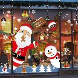 ZHOUZHOU Weihnachtsdeko Fenster,Weihnachten Fensterbilder Fenstersticker Fensteraufkleber,DIY Weihnachtsdeko Selbstklebend für Vitrinen Glasfronten Schaufenster Türen Deko - 1